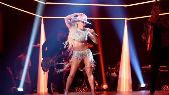 """SATURDAY NIGHT LIVE -- """"Tom Hanks"""" Episode 1708 -- Pictured: Musical guest Lady Gaga performs on October 22, 2016 -- (Photo by: Will Heath/NBC)"""