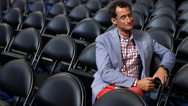 Former New York congressman Anthony Weiner at the Democratic National Convention July 26, 2016 in Philadelphia.