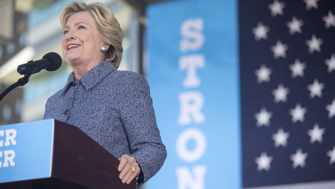 Hillary Clinton speaks at a rally for early voting in Cowles Commons in downtown Des Moines, Thursday, Sept. 29, 2016.