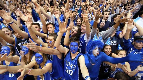 Duke Blue Devils fans also known as Cameron Crazies.