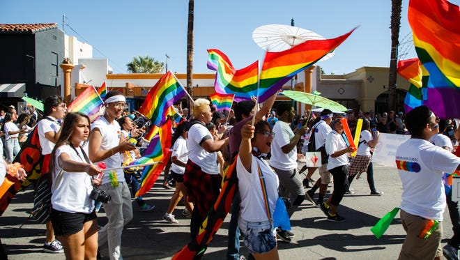 Students from local high school LGBTQ organizations march in the 2016 Palm Springs Pride Parade. Stephen Smyth champions a bill in the Legislature that he says could improve the fortunes of LGBTQ youth.