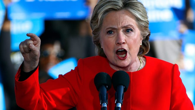 Democratic presidential candidate Hillary Clinton speaks at a rally on the University of Pittsburgh campus in Pittsburgh, Monday, Nov. 7, 2016. (AP Photo/Gene J. Puskar)