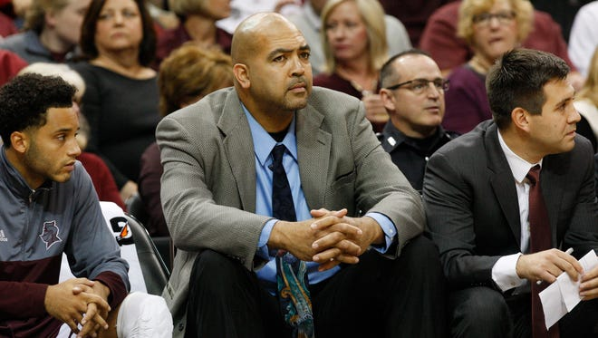 Former U of L standout Felton Spencer is on the Bellarmine coaching staff during their Nov. 7, 2016, game at the KFC Yum Center.
