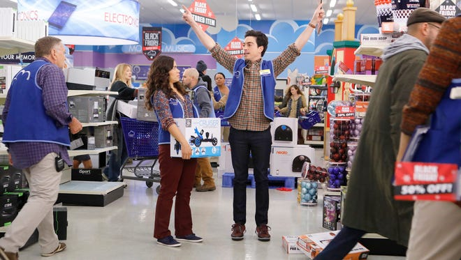 America Ferrera as Amy, and Ben Feldman as Jonah in NBC's 'Superstore.'