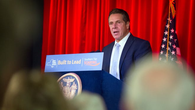 Gov. Andrew Cuomo speaks during a ceremony in Johnson City for Binghamton University's new School of Pharmacy and Pharmaceutical Sciences on Tuesday, Nov. 15, 2016.