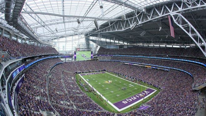 A view of the Minnesota Vikings' U.S. Bank Stadium in in Minneapolis.