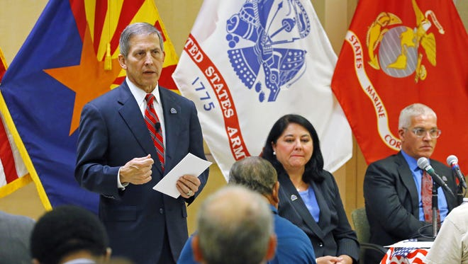 Deputy Secretary of Veterans Affairs Sloan D. Gibson (left) made his fifth visit to the Phoenix VA Medical Center, on Nov. 15, 2016, for a town hall for veterans to discuss their health care.