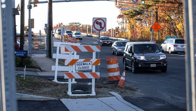 The Exit 91 project in Brick has stalled leaving numerous barricades and lane closures, including incomplete exit and entrance ramps. Traffic congestion along Burnt Tavern Road.