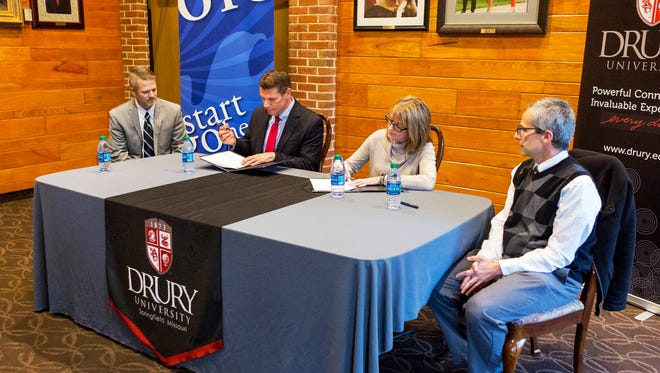 Ozarks Technical Community College signs an agreement Monday with Drury University.