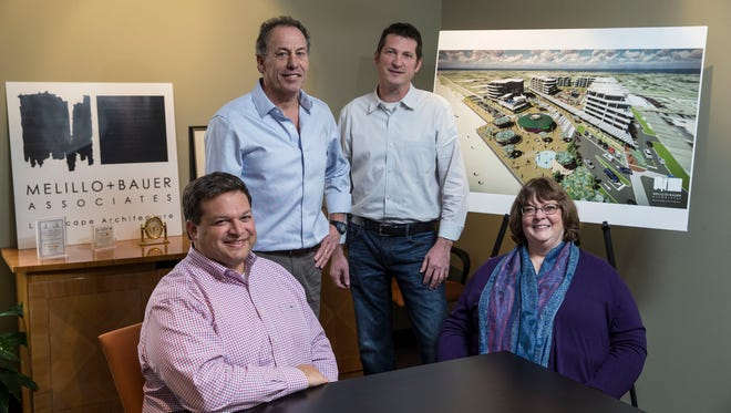 Melillo & Bauer Associates in Brielle is responsible for the landscape architecture and design behind such local projects as Pier Village in Long Branch and the Asbury Hotel in Asbury Park. Left to right are Joseph M. Melillo, Thomas B. Bauer, Thomas S. Carman and Lynn A. Yahia.