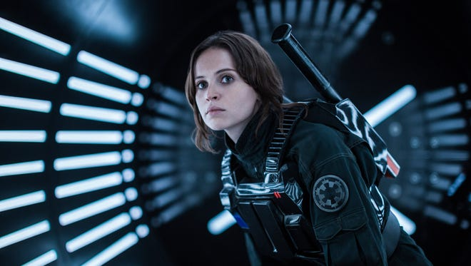 "Actress Felicity Jones as Jyn Erso in a scene from, ""Rogue One: A Star Wars Story."""