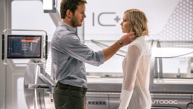 Chris Pratt and Jennifer Lawrence make a love connection in 'Passengers.'