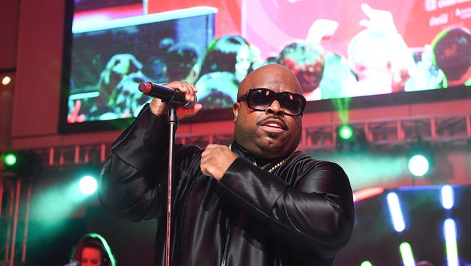 Ceelo's face is just fine — that exploding Samsung was all special effects.