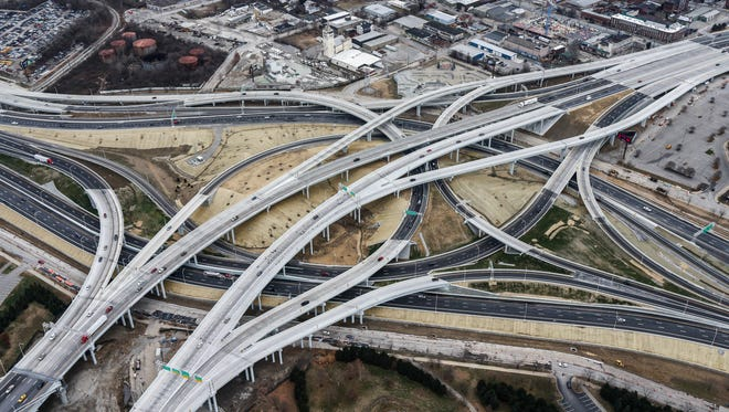 Spaghetti Junction,  I-64 and I-65 and approaches.December 18, 2016