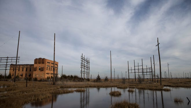 The U.S. Fish and Wildlife Service plans to remove more than 300 short-wave antenna poles from marshland near Good Luck Point in Berkeley. The poles are part of an inactive short-wave antenna field. The area was a renowned transmitting station, which helped broadcast Voice of America around the globe after 1944 and enabled communication with ships at sea throughout the twentieth century.Berkeley Township, NJWednesday, December 21, 2016.@dhoodhood