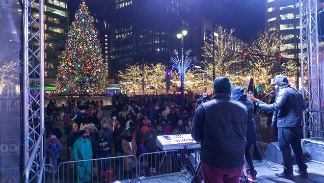 The JukeBoxx Band, a Detroit-based R&B cover band, perform during the Detroit New Years D-Drop event at Campus Martius in downtown Detroit on December 31, 2016.