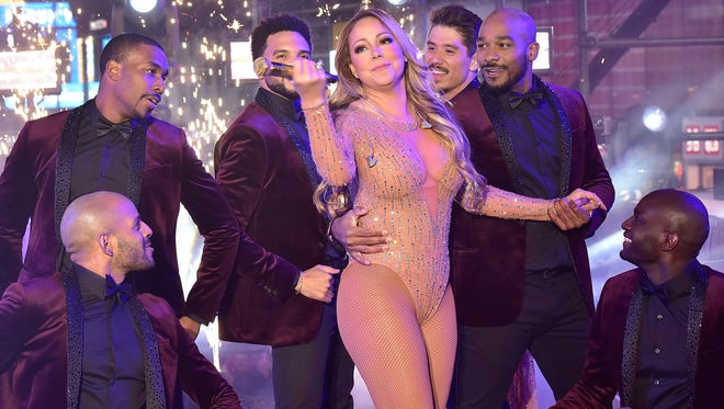 Mariah Carey and her dancers during the singer's New Year's Eve performance in Times Square on Dec. 31.