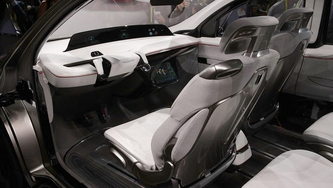 The interior of a Chrysler Portal, an electric-powered concept mini-van focused toward the millennial generation, is seen during a press event for CES 2017 at the Mandalay Bay Convention Center on January 3, 2017 in Las Vegas.