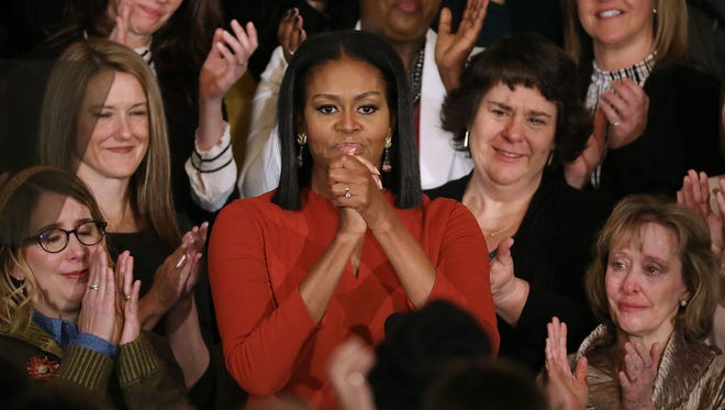 It was a full house of tears for Michelle Obama's last speech.