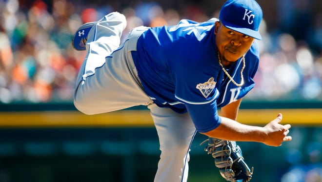 Kansas City Royals starting pitcher Edinson Volquez (36) pitches in the first inning against the Detroit Tigers at Comerica Park in September of 2016.
