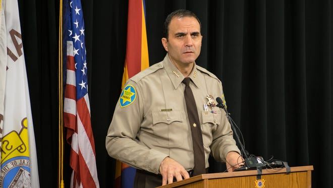 Maricopa County Sheriff Paul Penzone talks about his plans for his first 100 days in office at the Maricopa County Sheriff Headquarters in Phoenix on Jan. 19, 2017.