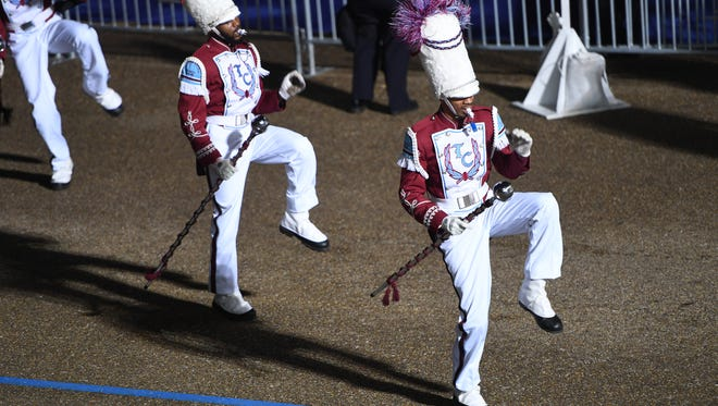 The Talladega College Band marches in the Inaugural Parade during the 2017 Presidential Inauguration at the Lafayette Park reviewing stand.