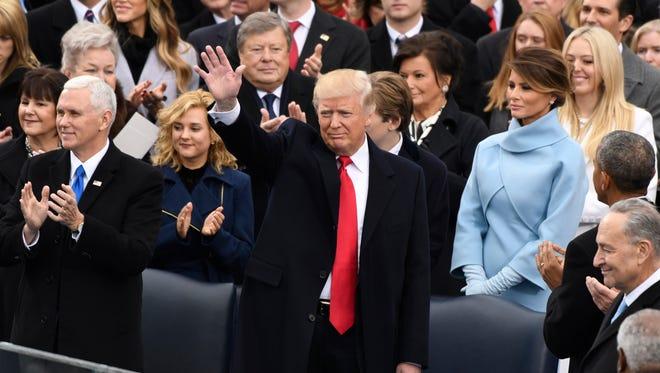 President-elect Donald Trump arrive for the 2017 Presidential Inauguration at the U.S. Capitol. Mandatory Credit: Robert Hanashiro-USA TODAY ORG XMIT: USATSI-357229 (Via OlyDrop)