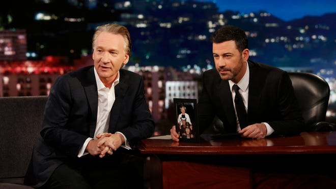 HBO 'Real Time' host Bill Maher, left, appears with Jimmy Kimmel on ABC's 'Jimmy Kimmel Live.'