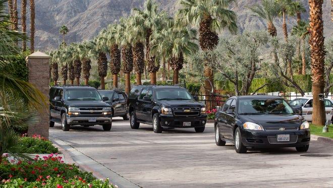 Former president Barack Obama's motorcade leaves Thunderbird Heights in Rancho Mirage Sunday morning, Jan. 22, 2017.
