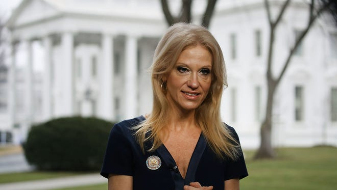 "Kellyanne Conway prepares for her ""Meet the Press"" appearance on Jan. 22, 2017."