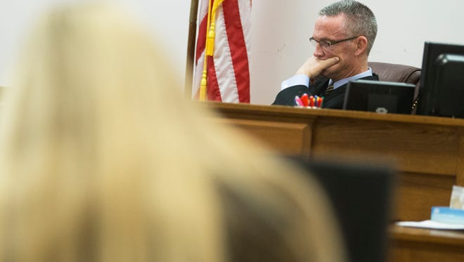 Judge Joseph Cawley listens to witness testimony during the trial for Samantha Werkheiser who is charged with felony course of sexual conduct against a child in Broome County Court on Monday, Jan. 23, 2017. Werkheiser was previously found guilty and sentenced to 12 years to life but her conviction was overturned on appeal.