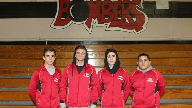 Boonton wrestling captains (from left): Danny Fongaro, Matt Hesse, Anthony Suppa and Jesus Maldonado.