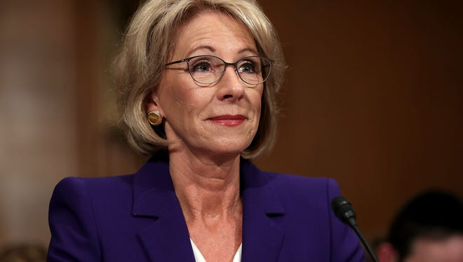 WASHINGTON, DC - JANUARY 17:  Betsy DeVos, President-elect Donald Trump's pick to be the next Secretary of Education, testifies during her confirmation hearing before the Senate Health, Education, Labor and Pensions Committee in the Dirksen Senate Office Building on Capitol Hill  January 17, 2017 in Washington, DC. (Photo by Chip Somodevilla/Getty Images)