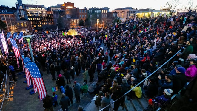 An overview of the crowd during the pro-immigration rally at the Muhammad Ali Center on Monday night. Jan. 30, 2017