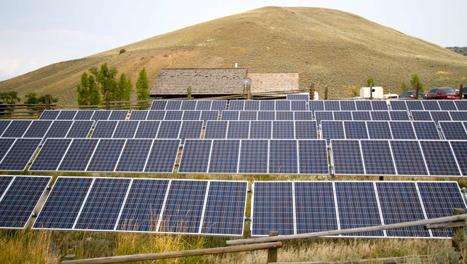 A solar power array at the Lamar Buffalo Ranch in Yellowstone National Park, Wyoming. Advocates say pro-solar policies helped create 200,000 jobs in the past decade.