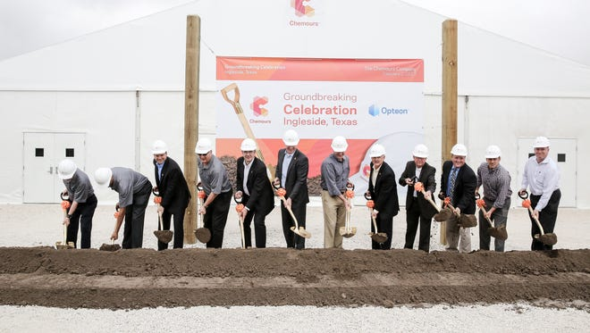 Officials from Chemours break ground at the Chemours' refrigerants plant Thursday, Feb. 2, 2017, in Ingleside. The Opteon refrigerant plant is scheduled to be open by 2018.