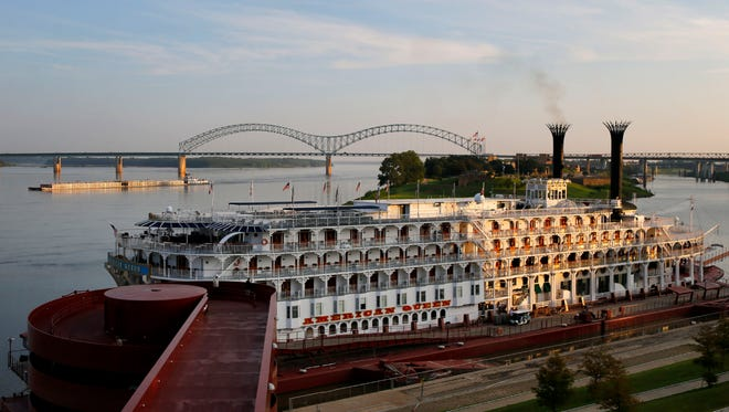 August 29, 2016 - The American Queen steamboat reflects in a window of Beale Street Landing as the boat rests in port in Memphis.