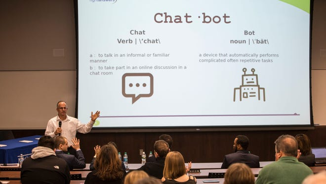 RightAnswers CEO Jeff Weinstein explains the competition. Monmouth University students have been working on the future of customer service by developing a robot through a competition sponsored by RightAnswers Inc., an Edison company that provides customer service for big companies. 