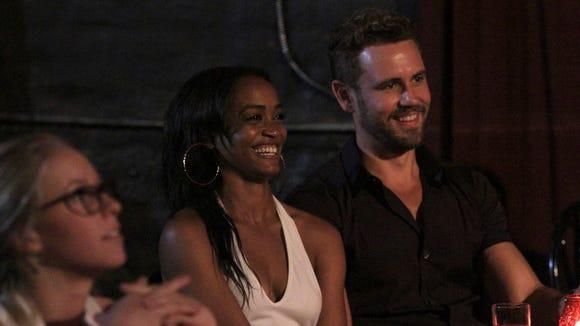 'Bachelor' Nick Viall, right, sits with Rachel Lindsay,