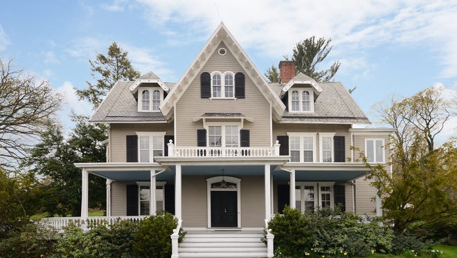 """This circa 1862 estate, known as """"Seven Oaks"""", is a 6,200-square foot Gothic Revival style home at 64 Ludlow Lane, Palisades."""