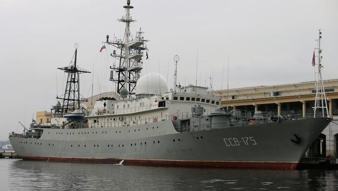 The Russian spy ship Viktor Leonov CCB-175 in the Havana, Cuba, harbor in 2014.