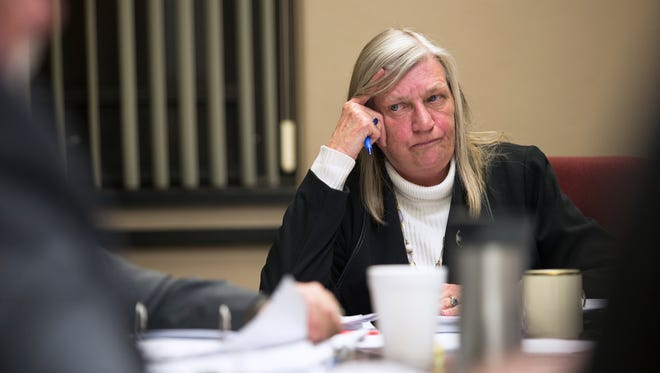 Town of Union Supervisor Rose Sotak listens during a The Town of Union Board work session on Wednesday where the board discussed how to proceed with allegations that Sotak harassed Town of Union employees.