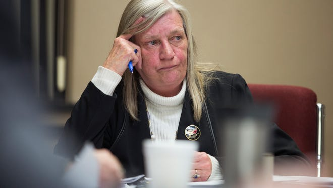 Town of Union Supervisor Rose Sotak listens during work session on March 1. A report details a slew of harassment allegations against her.