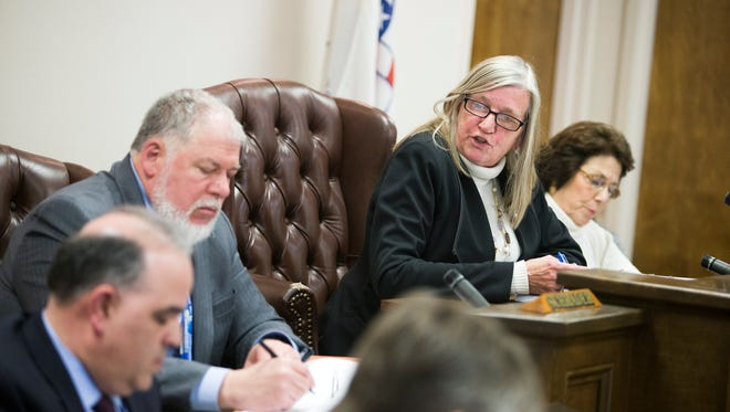Union Supervisor Rose Sotak presides over a town board meeting in February.