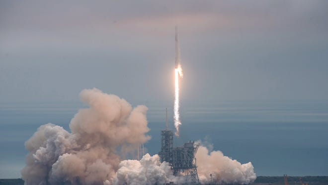 The launch of a SpaceX Falcon 9 rocket from Launch Complex 39A at NASA's Kennedy Space Center in Florida on Sunday.