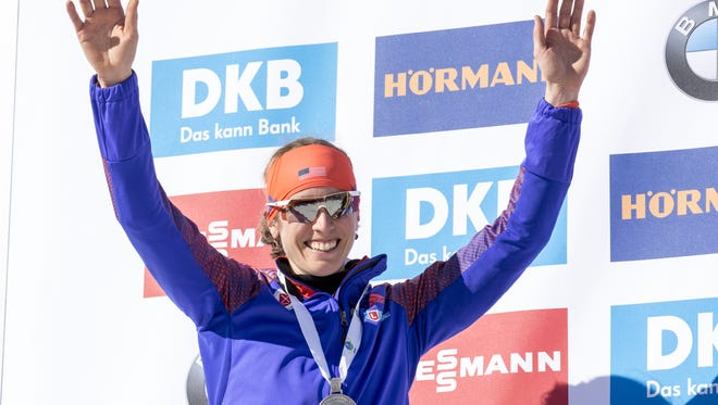 Susan Dunklee of the United States poses for a picture at the victory ceremony of women's 12.5km mass start competition during the IBU World Championships Biathlon 2017 at the Biathlon Stadium Hochfilzen on Feb. 19, 2017 in Hochfilzen, Austria.