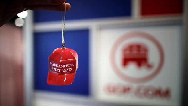 "Metal ""Make America Great Again"" Christmas ornaments are available for sale at CPAC in National Harbor, Md., on Feb. 23, 2017."