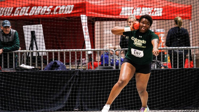 CSU's Aaliyah Pete, shown competing in the 2016 meet, won the women's shot put at the Mountain West Indoor Track and Field Championships on Saturday in Albuquerque, New Mexico, CSU swept the men's and women's team titles.