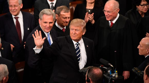 Feb 28, 2017; Washington, DC, USA; President Donald Trump enters the chamber before addressing a joint session of Congress at the U.S. Capitol.