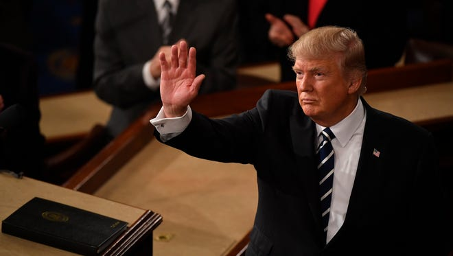 President Trump acknowledges the crowd after speaking before a joint session of Congress on Feb. 28, 2017.
